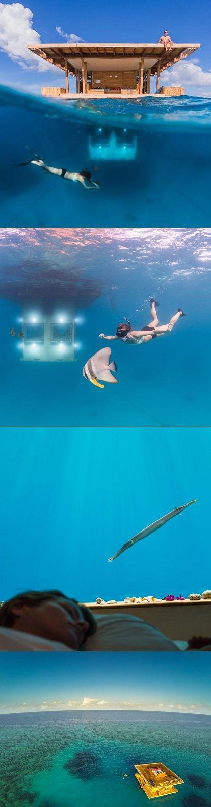 Underwater hotel room at the Manta Resort in the Indian Ocean.