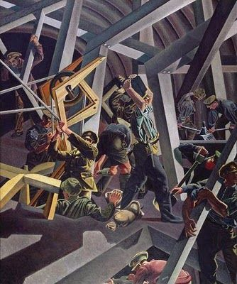 Sappers at Work : Canadian Tunnelling Company, R14, St Eloi on the western front by David Bomberg.