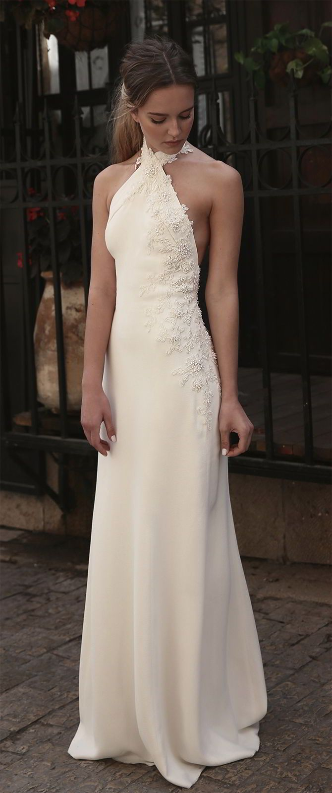 Rinat Shacham 2017 Wedding Dress delicate elegant halter style wedding gown