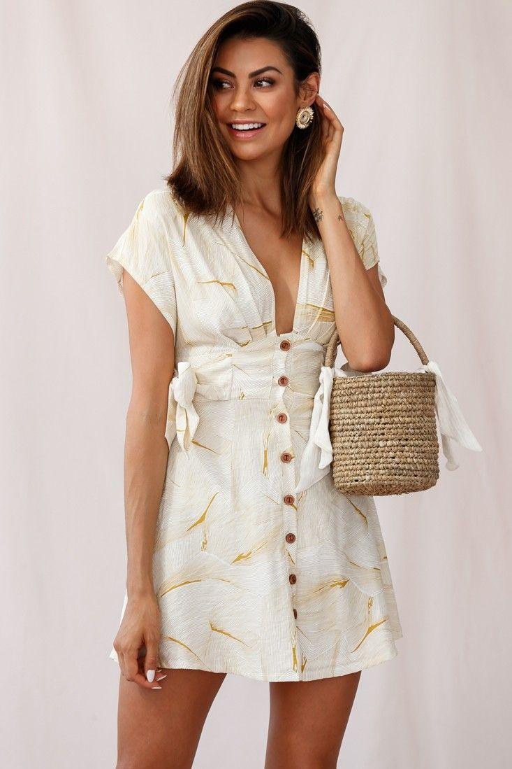 Dara Wooden Button Placket Dress Geometric Print Mustard 1