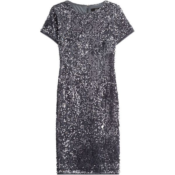 Steffen Schraut Tokyo Glam Sequin Dress (£125) ❤ liked on Polyvore featuring dresses, silver, shimmer dress, blue sequin cocktail dress, blue dress, silver cocktail dress and silver dress