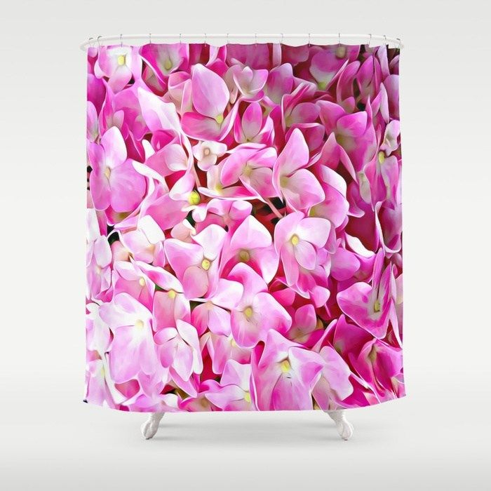 Pink Hydrangea Shower Curtain By