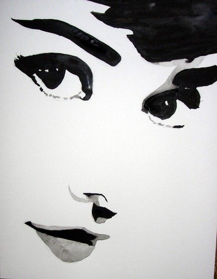This ink portrait of Audrey Hepburn uses no lines at all for edges. Yet we see her face clearly.