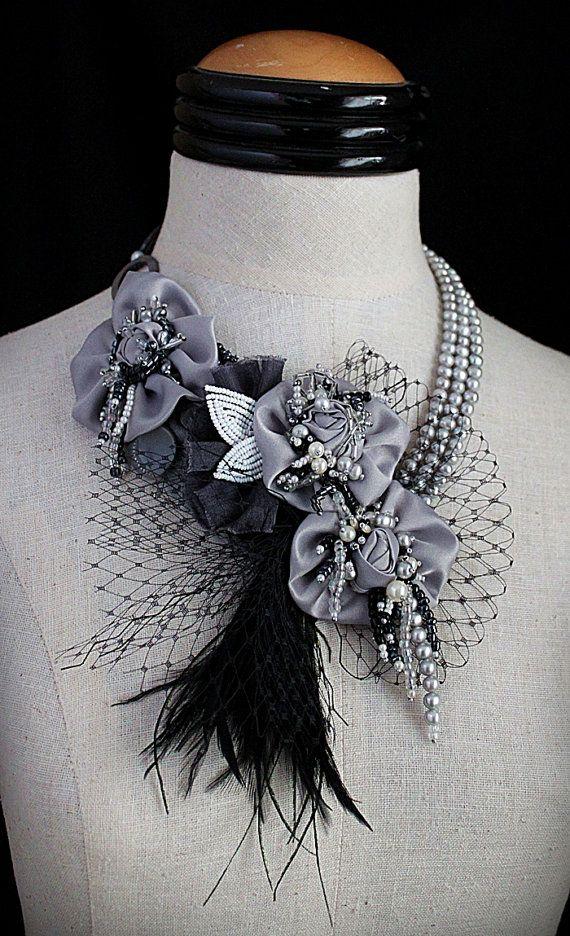 ARIANA Silver Black Statement Necklace Wearable di carlafoxdesign
