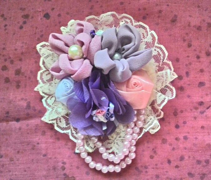 My favorite color, pink and purple, made into brooch :)