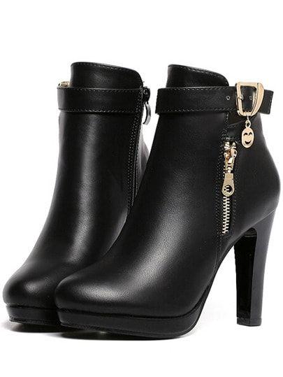 4976be8585 Black High Heel Zipper PU Boots -SheIn(Sheinside) | รองเท้าส้นสูง ...