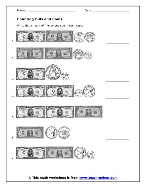 Counting Bills and Coins | Money worksheets, Worksheets ...