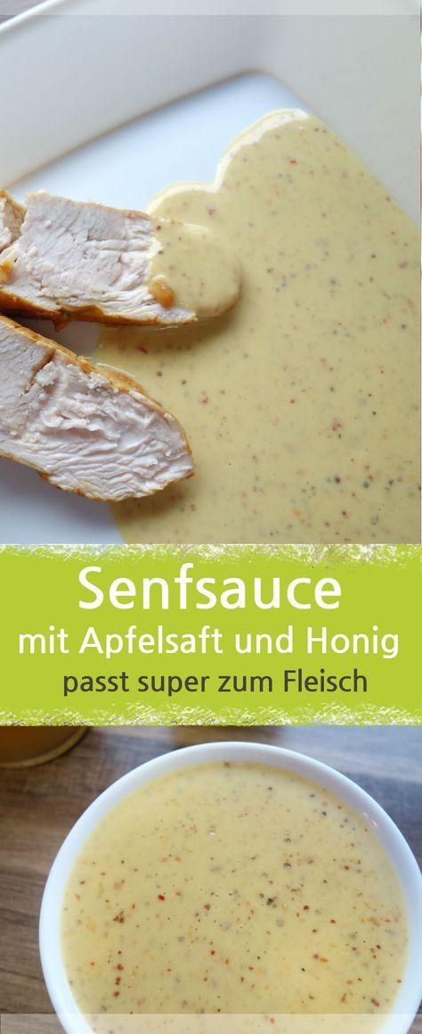 Rezept für eine Senfsauce mit Honig und Apfelsaft zubereitet. Passt super zu Fleisch, wie Schweinefilet. Aber auch zu Putenbrustfilet lecker. Als Beilage passen Kartoffeln und Salat – Meine Stube. #sauce #honigsenf #senfsauce