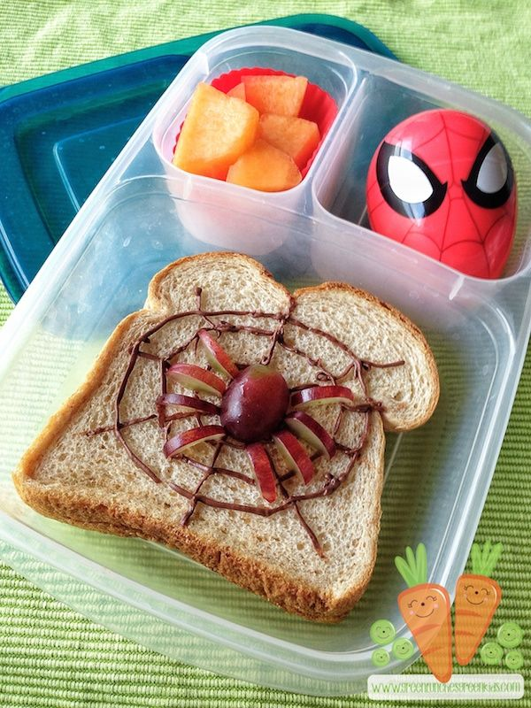 Amazing Spiderman bento lunch packed in @EasyLunchboxes │by Green Lunches, Green Kids