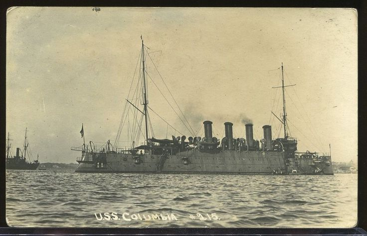 REAL PHOTO POSTCARD RPPC BANANA WARS U.S.S COLUMBIA US BATTLESHIP 1910-1916