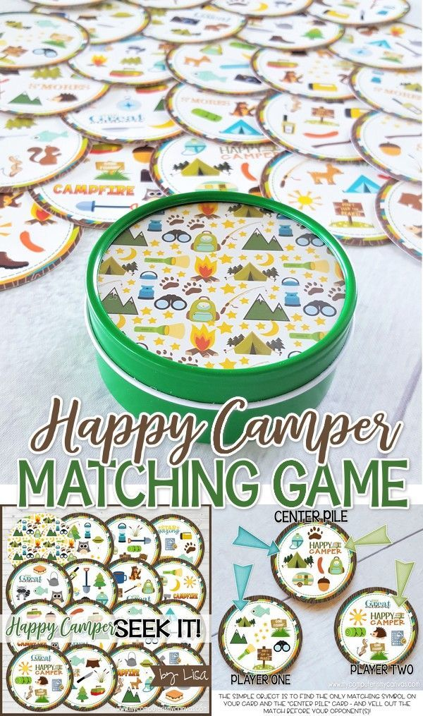 Printable camping games, campfire game, yw girls camp game, girls camp activity, cub scouts, family game night - Happy Camper Seek It Match Game! #mcyomputerismycanvas