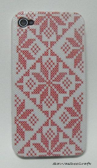 Cross Stitch Napkin : iPhone 4 Case / iPhone 4S Cover , Decoupage Technique