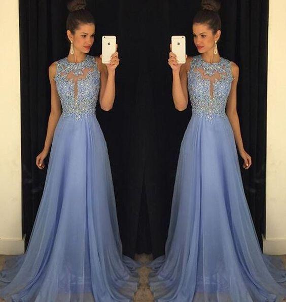 Bg575 Charming Prom Dress,Blue Prom Dresses,Beading Prom Dress,Chiffon