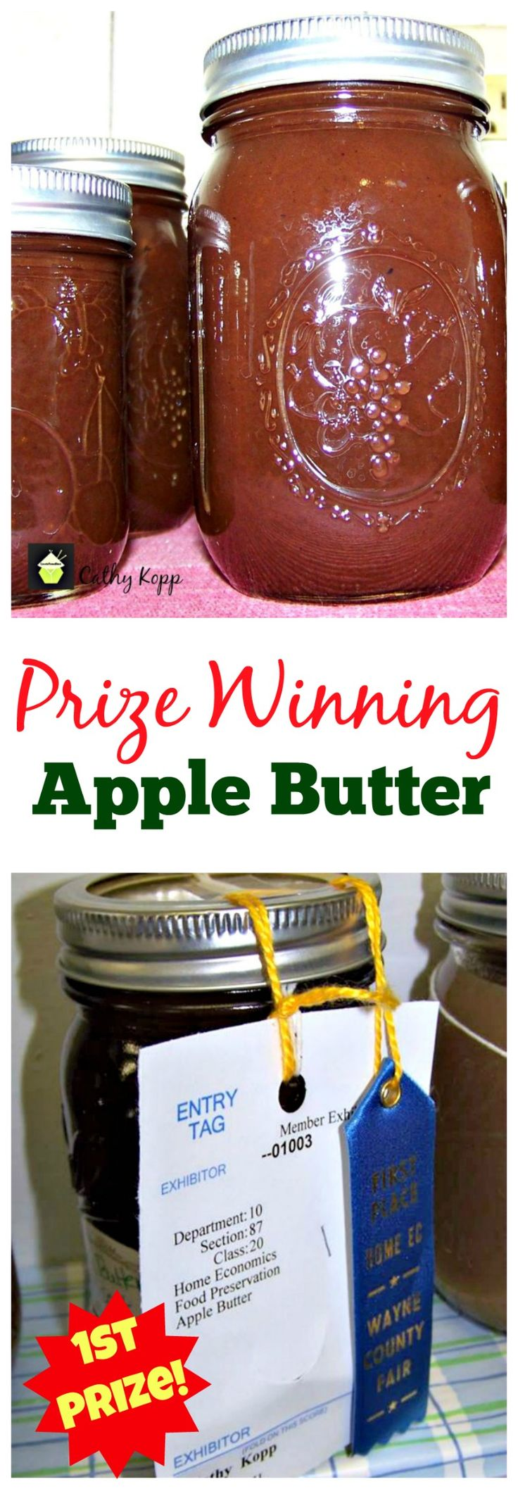 Prize Winning Apple Butter -Easy Crock Pot Recipe. Goes great with sweet or…