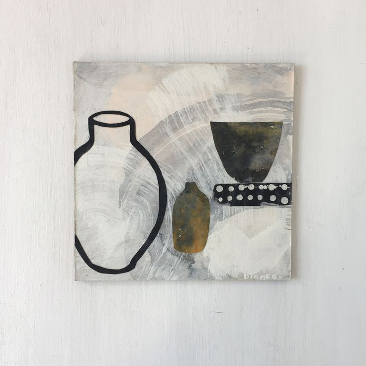 """""""empty vessels"""" mixed media collage 12.5cmx12.5cm by bianca @guineaprintco"""