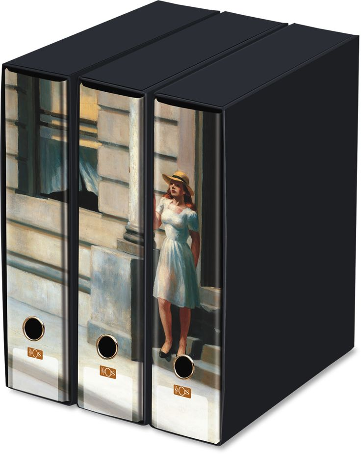 KAOS Lever Arch Files 2ring Binders with slipcase, Spine 8 cm, 3 pcs Set  - SUMMER IN THE CITY, EDWARD HOPPER - 3 pcs Set Dimensions: 26.8x35x29 cm