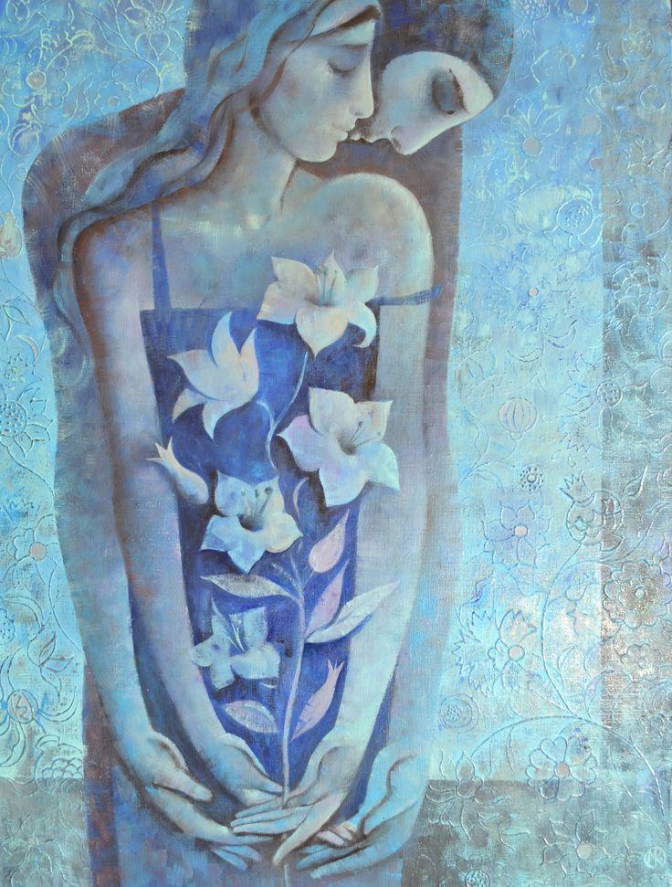 Gecenin Çiçekleri by Maria Kniazeva - TUYB / #Oiloncanvas -  60x80  #yağlıboya #tablo #gallerymak #mavi #sanat #artoftheday #modernart #painter #aşk #fineart #ig_sanat #abstractart #gununkaresi #love