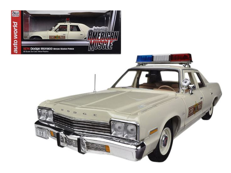 1974 Dodge Monaco Illinois State Police Car Limited to 2000pc 1/18 Diecast Model Car by Autoworld - Brand new 1:18 scale diecast model of 1974 Dodge Monaco Illinois State Police Car die cast model car by Autoworld. Limited Edition. Only 2000pc Produced Worldwide. Each model is individually numbered. In 1974 Dodge built 4900 of the Monaco specials that would find their place in many police squads and taxi companies from coast to coast. The newly styled full-sized 1974 Monaco rode on a 122…
