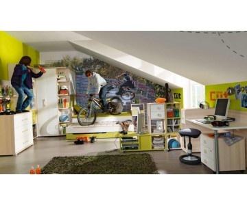 Jugendzimmerkombination besteht aus: Begehbarer Eck-Kleiderschrank, Kojenbett, Raumteilender Schreibtisch & Rollcontainer