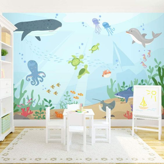 The cutest wall #mural for a #nursery or #kids rooms! Under the Sea Wall Mural: