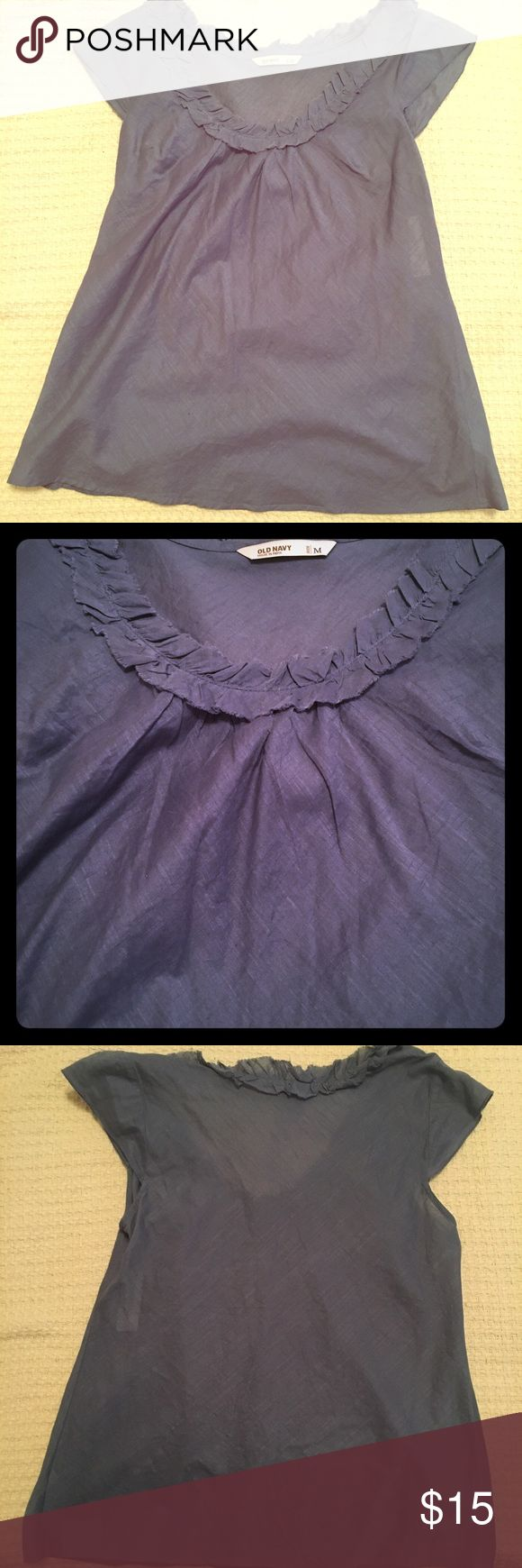 Semi sheet blue short sleeve top Old navy short sleeve top. Will need camisole underneath (or not 😉). NWT Old Navy Tops