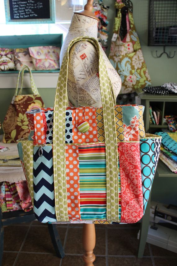 Tote Closure & key fob - Large Colorful Patchwork Teacher Tote Bag by WatermelonWishes, $193.75