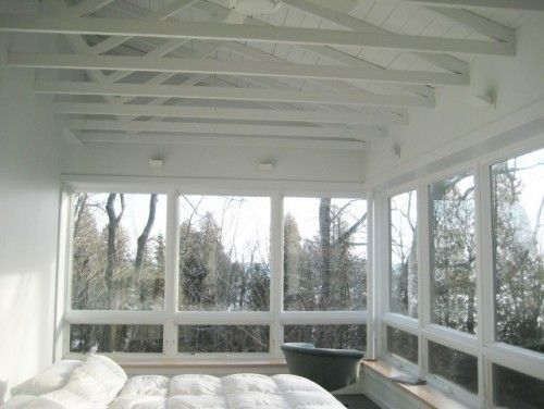 If we ever tear down the current screened-in porch - I like this with windows that open on the lower part - and bench/storage seating around. Would probably also like the upper windows to have screens and be able to slide open