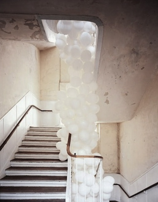 white balloons | statement entrance