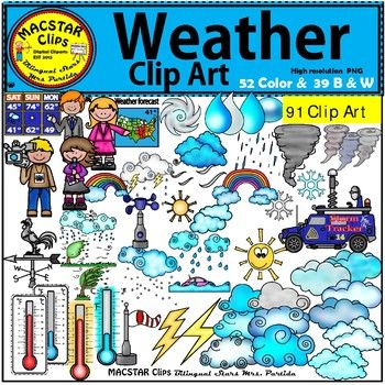 """Weather Clip Art """"MACSTAR Clips"""" 91 Images in total You will receive: 52 Color & 38 B & W images 52 Color Clip Art: As shown in the preview: 12 different clouds, 4 thermometers, cup anemometer, 4 drops of water, flood, 2 images of a hail, hurricane, 2 rainbows, reporter-girl, snow ball, 2 snowflakes, snowstorm, storm tracker, sun, 5 tornados, sunny, thunderstorm, 2 thunders, 2 weather"""