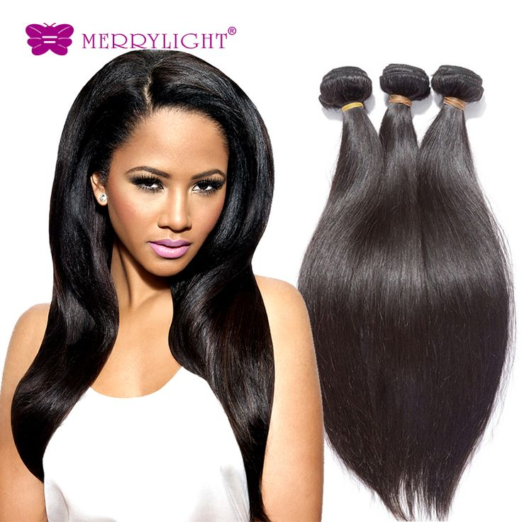 Brazilian Virgin Hair Silky Straight Natural color 1pcs 10-28inch Unprocessed Merrylight human hair extensions Free shipping