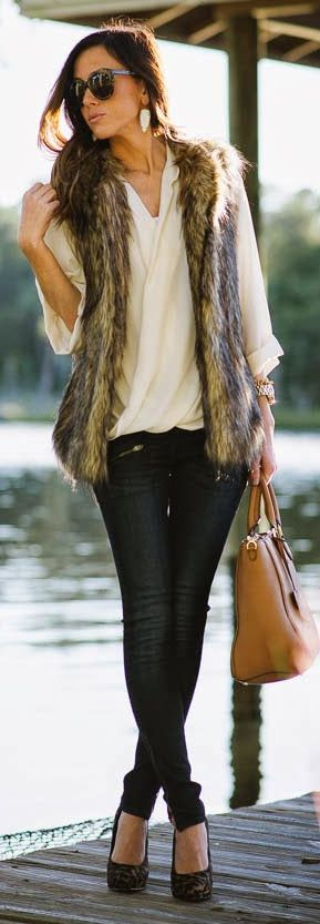 Faux Fur Vest Fall Inspo by Sequins & Things                                                                                                                                                                                 More