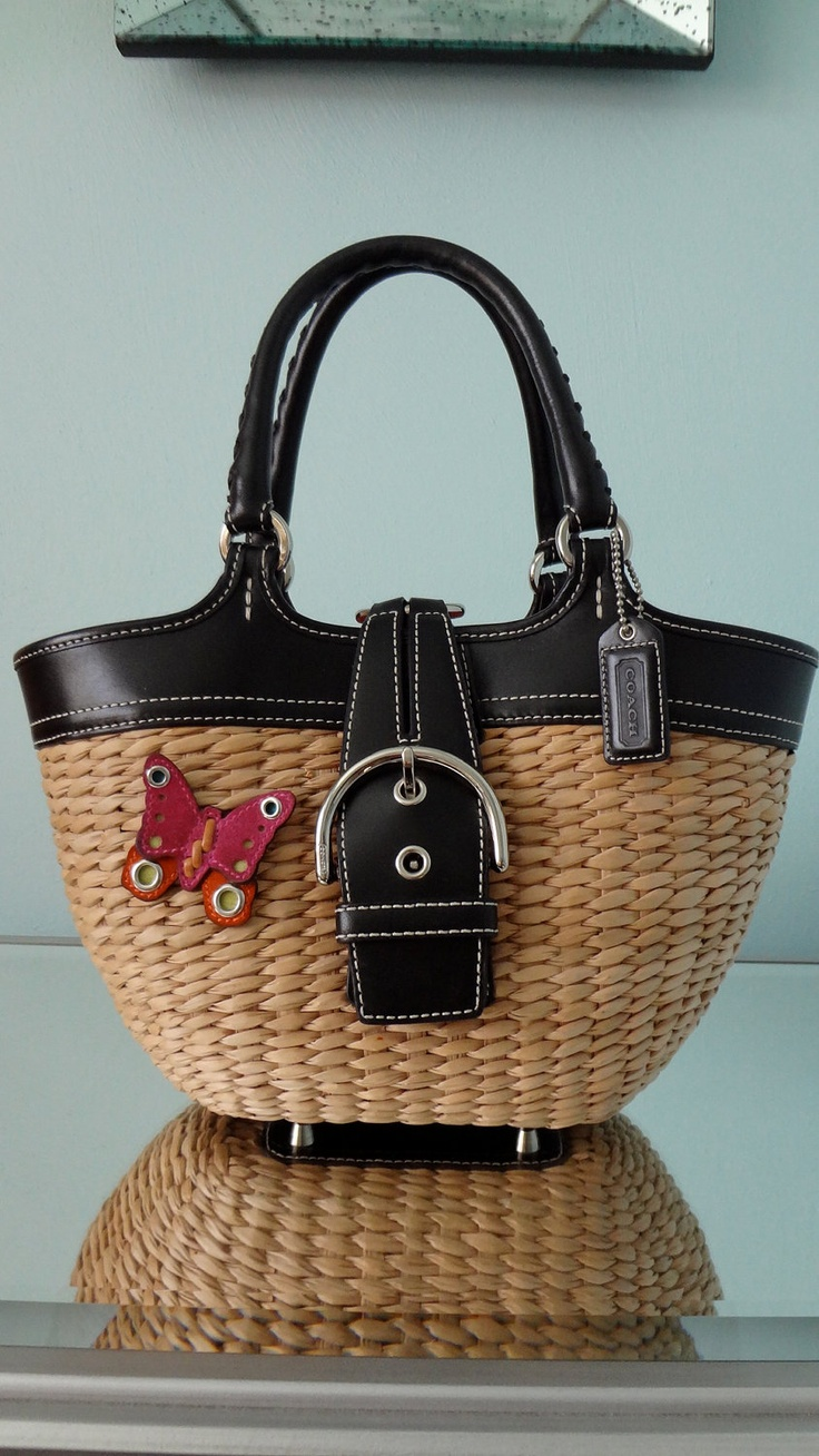 AUTHENTIC COACH Straw Spring Bag by ClosetCouturexo on Etsy, $130.00