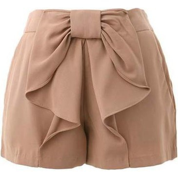 Beige shorts with big bow
