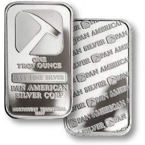 One Troy Ounce Pan American Silver Bullion Bar.