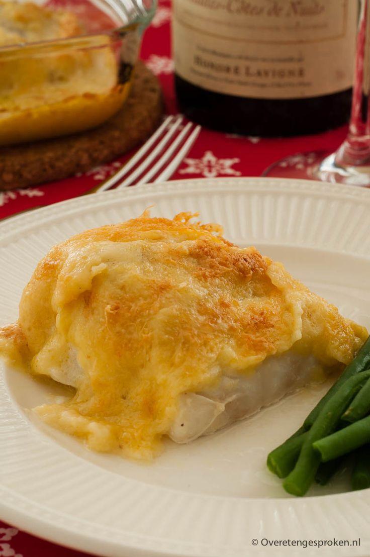 Kabeljauw in mosterd-kaassaus - In de oven gegaarde kabeljauw, afgetopt met een rijke laag kaas.