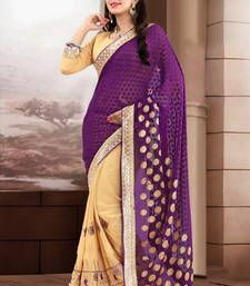 Buy Purple and Beige embroidered georgette Saree with blouse brasso-saree online