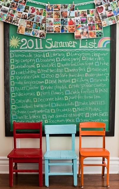 Love lists. Love summer. Love chalkboards. Love this idea.
