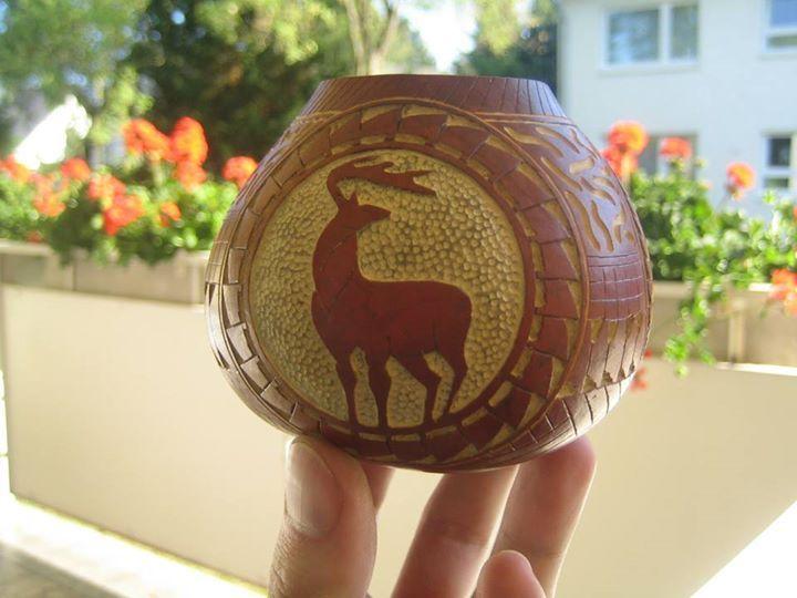 Tykwa rzeźbiona do Yerba Mate  #tykwa #tywky #gourds #handmade #mateart #robertprzydatek