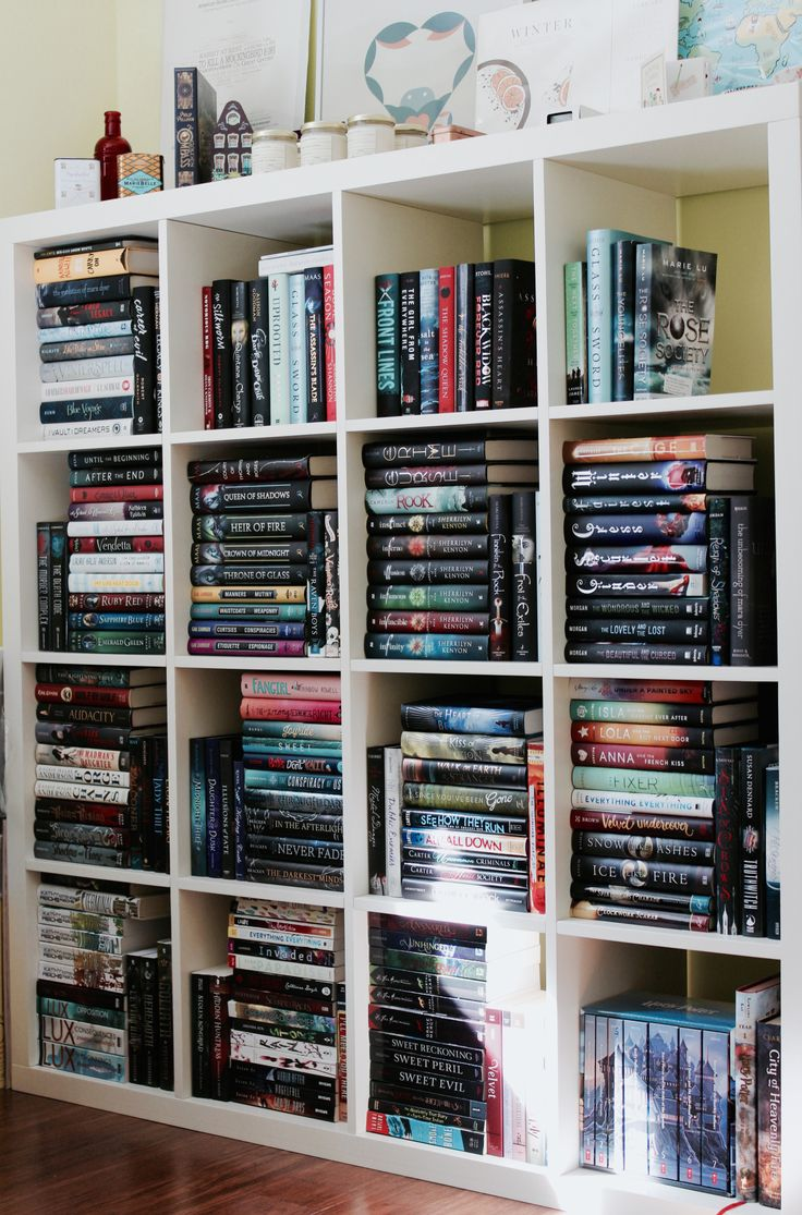 "emthetiger: "" Sunday Shelfie! // Here is my bookshelf that holds the majority of my YA books. I'm thinking about getting some Ikea Billy bookshelves to replace this one (even though I really do like..."