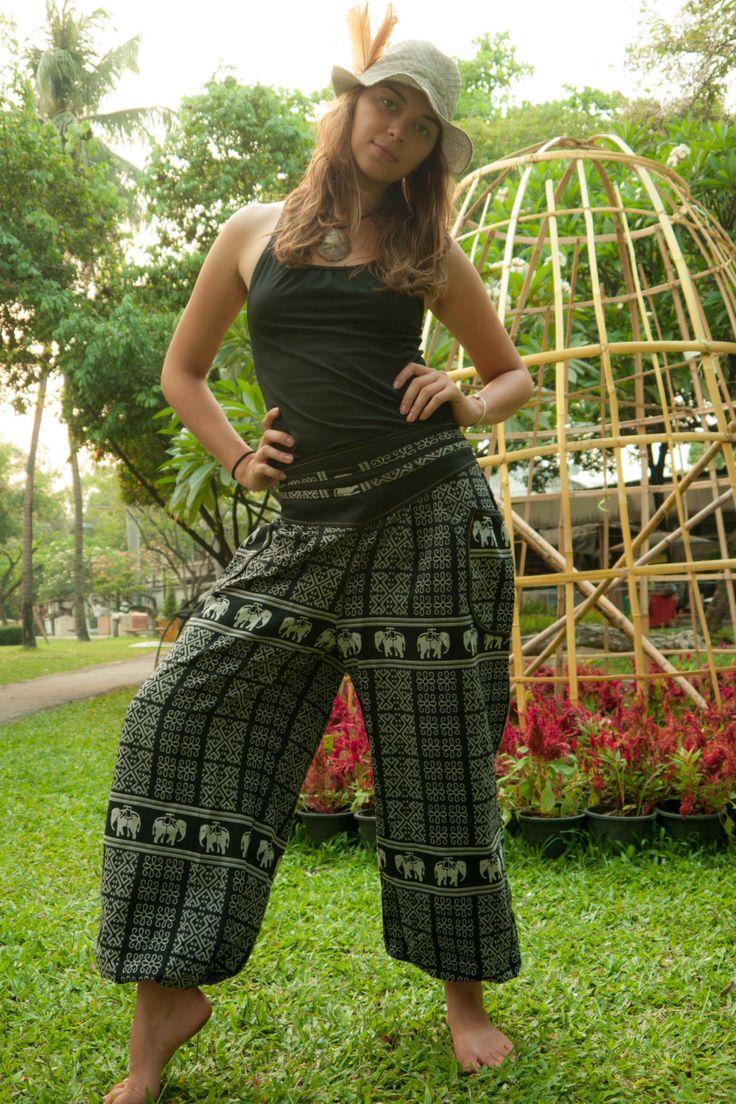 Love love love elephants! Thai Harem Pants Batik Cotton Black and Grey Mixed by amonchai, $33.00