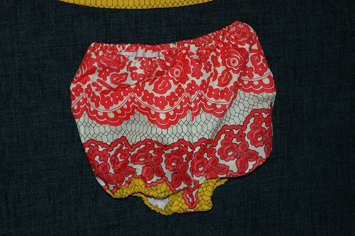 Detail of  elasticated panties in a crazy patterned fabric. The dress was lined with 100% cotton for comfort and warmth.