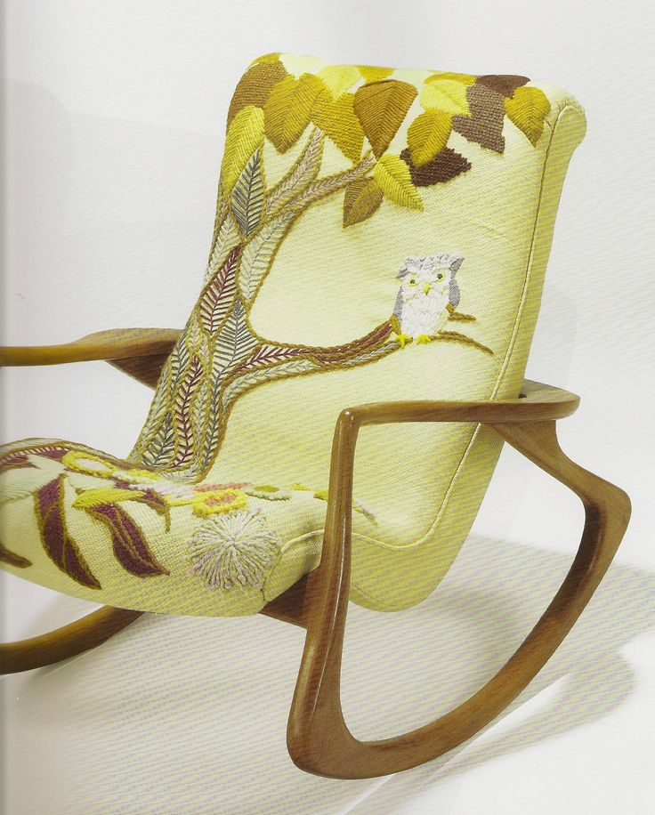 Erica Wilsonu0027s Embroidered Owl On Husband Vladimir Kaganu0027s Modern Rocking  Chair. Modern Rocking ChairsVintage ...