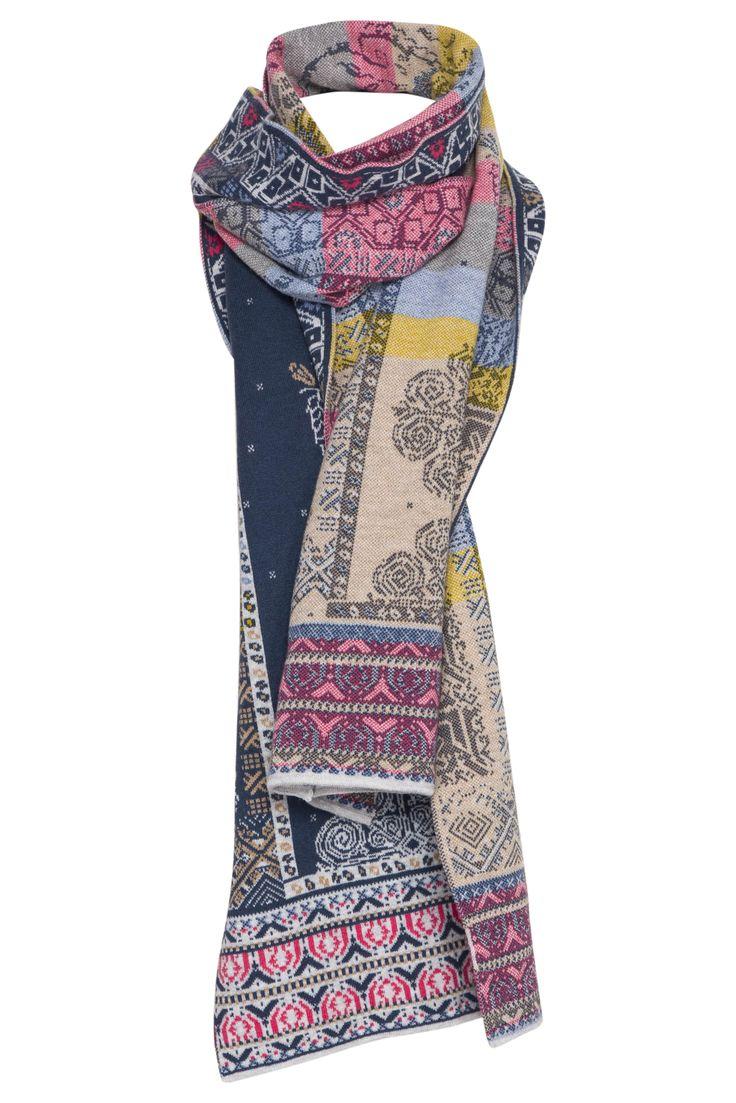 Blauwe/pastel-kleurige wollen sjaal van IVKO scarf