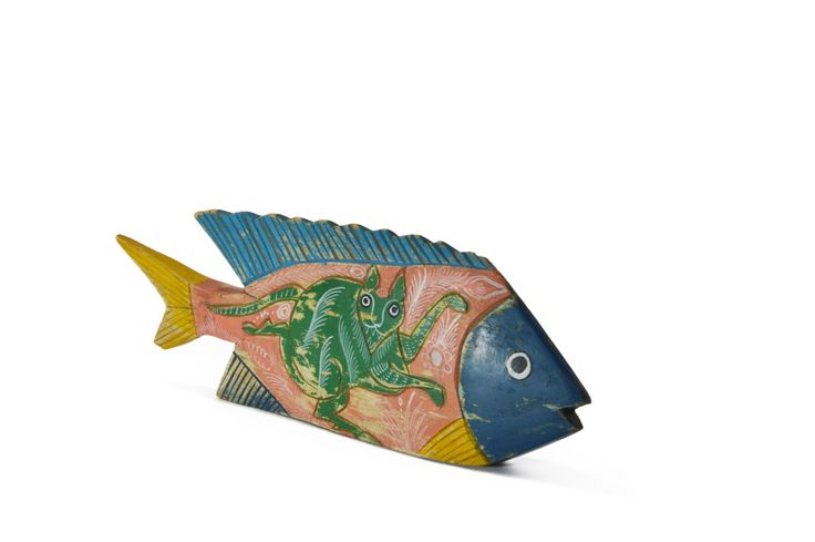 Wooden fish mexican folk art chippy vintage rustic wood