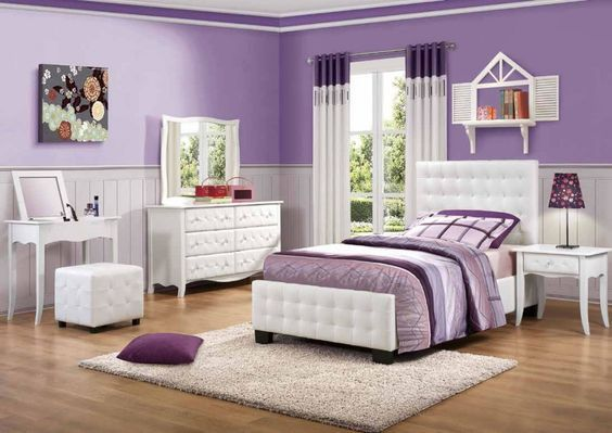 Fetching Girl Bedroom Design And Decoration For Your Lovely Daughters : Excellent Purple Girl Bedroom Decoration Using Light Purple Bedroom Wall Paint Including Light Purple Stripe Girl Bed Sheet And Tufted White Leather Girl Bed Frame
