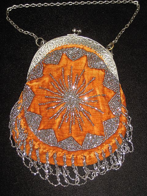 """French Velvet & Steel Beaded Purse  approximately: 6 1/2"""" from top of frame (not including the clasp) to the bottom of the beaded twisted fringe; it is 5"""" across the widest portion."""