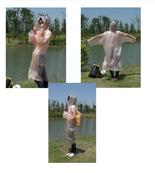 5x Camping Travel Hike Fishing Disposable Adult Emergency Hooded Poncho Raincoat