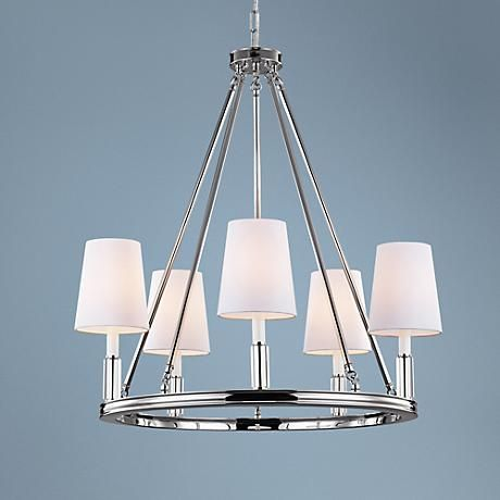 White fabric hardback shades lend a sophisticated look to this transitional chandelier in polished nickel.