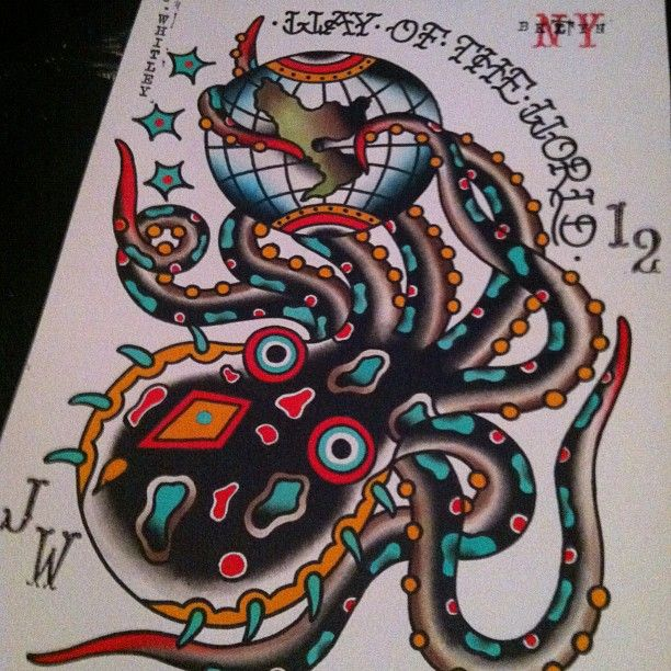 Octopous Tattoo Traditional: Octopus Tattoo Flash World Globe Jeremy Whitley