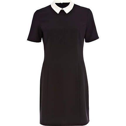 Black and white collared shift dress - shift dresses - dresses - women river island £35